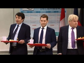 "Jimmy Fallon as Trudeau, Paul Rudd as French President Emmanuel Macron, and James Corden as British Prime Minister Boris Johnson on ""Saturday Night Live"" on Dec. 7, 2019."