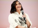 Demi Lovato speaks on stage at the Teen Vogue Summit 2019 at Goya Studios on November 2, 2019 in Los Angeles, California.