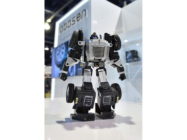 The Robosen T-9, a programmable education robot is displayed during CES 2020 at the Las Vegas Convention Center on Jan. 8, 2020, in Las Vegas.