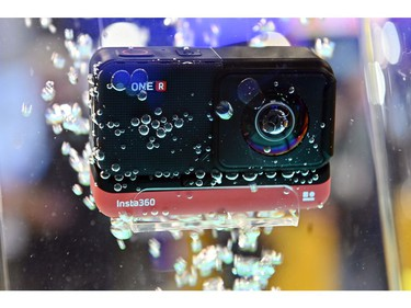 The Insta360 One R is displayed in a container of water at the Insta360 booth during CES 2020 at the Las Vegas Convention Center on Jan. 8, 2020, in Las Vegas.