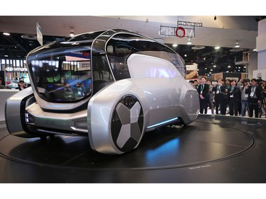 Attendees view the autonomous Hyundai Mobis M.Vision S concept vehicle for urban sharing at the Las Vegas Convention Center in Las Vegas on Jan. 8, 2020.