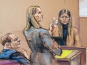 Dawn Dunning is questioned by Assistant District Attorney Meghan Hast during film producer Harvey Weinstein's sexual assault trial at New York Criminal Court in Manhattan, New York, Jan. 29, 2020, in this courtroom sketch. (REUTERS/Jane Rosenberg)
