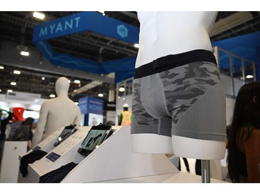 Skiin smart boxer brief underwear are displayed at the 2020 Consumer Electronics Show (CES), Jan. 9, 2020 in Las Vegas.