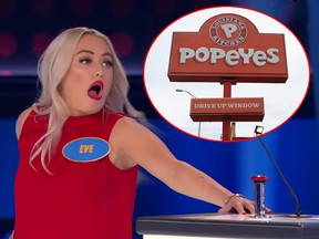 Family Feud contestant Eve Dubois has been offered $10,000 worth of chicken by Popeyes. (YouTube/Getty Images)