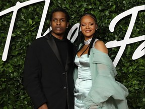 Barbadian singer Rihanna and US rapper ASAP Rocky poses on the red carpet upon arrival at The Fashion Awards 2019 in London on December 2, 2019.
