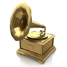 Vintage gold gramophone in the design of the information related to the retro music