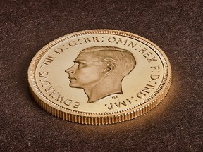 A rare Edward VIII sovereign coin is pictured at the Royal Mint in Llantrisant, Wales, in December, 2019, in this image obtained by Reuters on January 17, 2019. (The Royal Mint/via REUTERS)