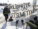 Protesters set blockade on the train tracks in Longueuil near Oak av. and St Georges st. on Wednesday February 19, 2020.