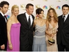 "(FILES) In this file photo taken on September 21, 2002, cast members from ""Friends,"" which won Outstanding Comedy, series pose at the 54th Annual Emmy Awards in the Shrine Auditorium in Los Angeles.  From L to R are David Schwimmer, Lisa Kudrow, Mathew Perry, Courtney Cox Arquette, Jennifer Aniston and Matt LeBlanc. - WarnerMedia will launch its new Netflix rival ""HBO Max"" in early 2020 after reclaiming the rights to stream its hugely popular television comedy ""Friends,"" the company said on July 9, 2019. (Photo by LEE CELANO / AFP)LEE CELANO/AFP/Getty Images"