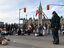 Protesters gather in the streets of Ottawa, Canada on February 24, 2020 in support of a small group fighting construction of a natural gas pipeline on indigenous lands in British Columbia.