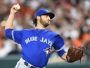 Mike Bolsinger of the Toronto Blue Jays pitches in the first inning during a baseball game against the Baltimore Orioles at Oriole Park at Camden Yards on May 20, 2017 in Baltimore, Maryland.