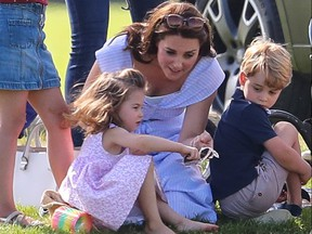 Catherine, Duchess of Cambridge, accompanied by Prince George and Princess Charlotte, attends the Maserati Polo match at Beaufort Polo Club in Gloucestershire, Britain, June 10, 2019. (John Rainford/WENN.com)