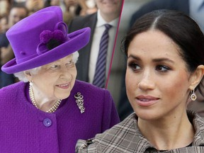 Meghan Markle, right, is 'disappointed' In the Queen's decision to get rid of Sussex Royal brand.