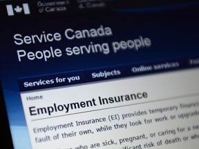 Canada Service centre documents that display Employment Insurance options are pictured in Ottawa on Tuesday, July 7, 2015. (THE CANADIAN PRESS/Sean Kilpatrick)