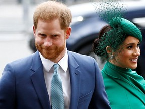 Harry and Meghan arrive for the annual Commonwealth Service at Westminster Abbey in London, England, on March 9, 2020. (Reuters)