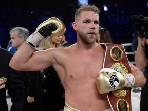 Billy Joe Saunders celebrates his win over David Lemieux to retain the WBO middleweight title, in Laval, Que., on Saturday, Dec. 16, 2017. (THE CANADIAN PRESS/Ryan Remiorz)