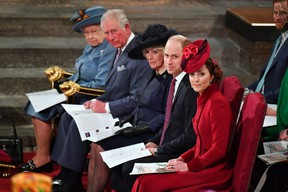 Queen Elizabeth, Prince Charles, Camilla, Duchess of Cornwall, Prince Harry and Meghan, Duchess of Sussex, and Prince William and Catherine, Duchess of Cambridge attend the annual Commonwealth Service at Westminster Abbey in London, Britain March 9, 2020. Phil Harris/Pool via REUTERS