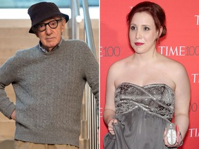 Woody Allen and Dylan Farrow are seen in file photos.
