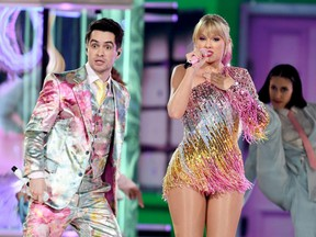 Brendon Urie of Panic! at the Disco and Taylor Swift perform onstage during the 2019 Billboard Music Awards at MGM Grand Garden Arena in Las Vegas, May 1, 2019.