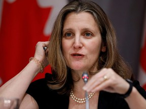 Deputy Prime Minister Chrystia Freeland attends a news conference as efforts continue to help slow the spread of coronavirus disease in Ottawa, March 23, 2020.