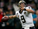 Drew Brees of the New Orleans Saints throws a 62-yard pass to break Peyton Manning's record for All-Time Passing Yards during a game against the Washington Redskins at Mercedes-Benz Superdome on Oct. 8, 2018, in New Orleans, La.