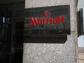 A detailed view of the exterior of the New York Marriott at the Brooklyn Bridge on March 27, 2020 in the Brooklyn Heights neighbourhood of the Brooklyn borough of New York City. (Justin Heiman/Getty Images)