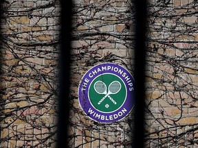 Wimbledon branding is seen at  The All England Tennis and Croquet Club, best known as the venue for the Wimbledon Tennis Championships, on April 1, 2020, in London, England.