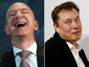 Amazon founder and CEO Jeff Bezos (L) and Tesla CEO Elon Musk are seen in file photos.
