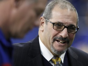 General Manager Dave Gettleman of the New York Giants during the pregame against the Indianapolis Colts at Lucas Oil Stadium on Dec. 23, 2018 in Indianapolis, Ind.