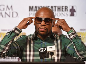 Boxer Floyd Mayweather Jr. speaks during a news conference at MGM Grand Hotel & Casino on Sept. 9, 2015, in Las Vegas.