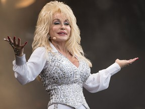 Dolly Parton performs on the Pyramid Stage during Day 3 of the Glastonbury Festival at Worthy Farm on June 29, 2014, in Glastonbury, England.