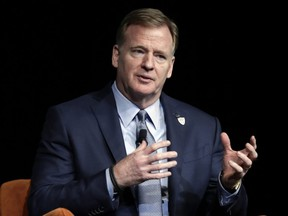 NFL commissioner Roger Goodell speaks during a fireside chat at the Preview Las Vegas business forecasting event at Wynn Las Vegas in Las Vegas on Jan. 17, 2020.