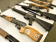 Pictured here are assault style rifles that could be subject to the Liberal government's ban.
