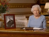 In this handout provided by Buckingham Palace, Queen Elizabeth II addresses the nation and the Commonwealth on the 75th anniversary of VE Day at Windsor Castle on May 8, 2020 in Windsor, England.