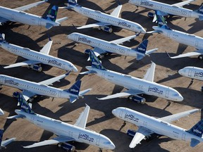 Decommissioned and suspended jetBlue commercial aircrafts are seen stored in Pinal Airpark on May 16, 2020 in Marana, Arizona.