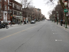 A usually busy Bernard St. is nearly empty at 6 p.m. as Montreal deals deals with the coronavirus pandemic on April 8, 2020. Quebec's economy is to gradually begin reopening on Monday, May 4.