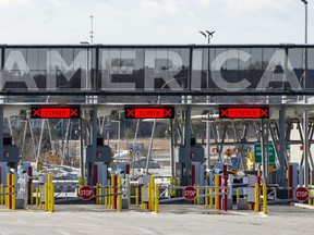 The United States border crossing is seen March 18, 2020 in Lacolle, Que.