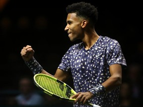 Felix Auger Aliassime celebrates his victory against Jan-Lennard Struff during the ABN AMRO World Tennis Tournament at Rotterdam Ahoy on February 11, 2020 in Rotterdam.