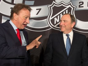 NHL commissioner Gary Bettman and Ottawa Senators owner Eugene Melnyk are seen together in December 2017.