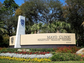 A general view of the entrance signage for the Jacksonville campus of the Mayo Clinic on March 15, 2020 in Jacksonville, Florida.