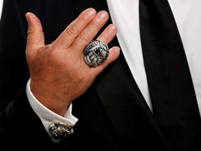New England Patriots owner Robert Kraft with his Super Bowl championship ring at the 2017 Oscars Vanity Fair Party.