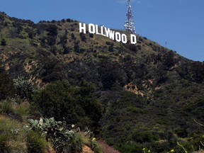 The Hollywood sign can be seen in the distance during the outbreak of COVID-19 in Los Angeles, May 9, 2020.