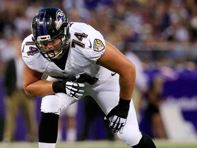Offensive tackle James Hurst of the Baltimore Ravens lines up against the San Francisco 49ers during the first half of an NFL pre-season game at M&T Bank Stadium on Aug. 7, 2014, in Baltimore, Md.