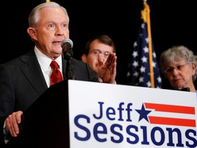 Former U.S. Attorney General Jeff Sessions speaks after results are announced for his candidacy in the Republican Party U.S. Senate primary in Mobile, Alabama, March 3, 2020.