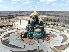 An aerial view shows a new Orthodox cathedral dedicated to the Russian Armed Forces during construction works outside Moscow April 28, 2020.