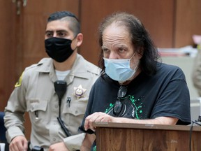 Adult film star Ron Jeremy, who has been charged with raping three women and sexually assaulting a fourth in incidents in West Hollywood from 2014 to 2019, makes his first appearance in Los Angeles County Superior Court, Calif.,  June 23, 2020.