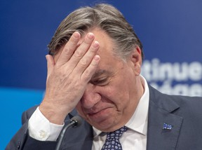 Quebec Premier Francois Legault speaks to the media on Monday in Montreal. A day after demonstrators in Montreal criticized Francois Legault for his refusal to acknowledge systemic racism in the province, the Quebec premier is holding firm on his position.  Legault told reporters in Montreal today he's committed to implementing a plan to stamp out racism in the province and expects details in the coming days.