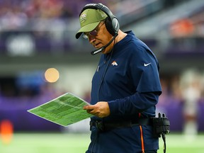 Denver Broncos head coach Vic Fangio looks on in the first quarter against the Minnesota Vikings at U.S. Bank Stadium in Minneapolis on Nov. 17, 2019.