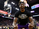 Dwight Howard of the Los Angeles Lakers reacts after Kyle Kuzma dunked the ball during the second half of their game against the Golden State Warriors at Chase Center on Feb. 27, 2020 in San Francisco, Calif.