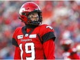 Calgary Stampeders QB, Bo Levi Mitchell reacts to a play against the Winnipeg Blue Bombers during the CFL semi-finals in Calgary on Sunday, November 10, 2019. Darren Makowichuk/Postmedia
